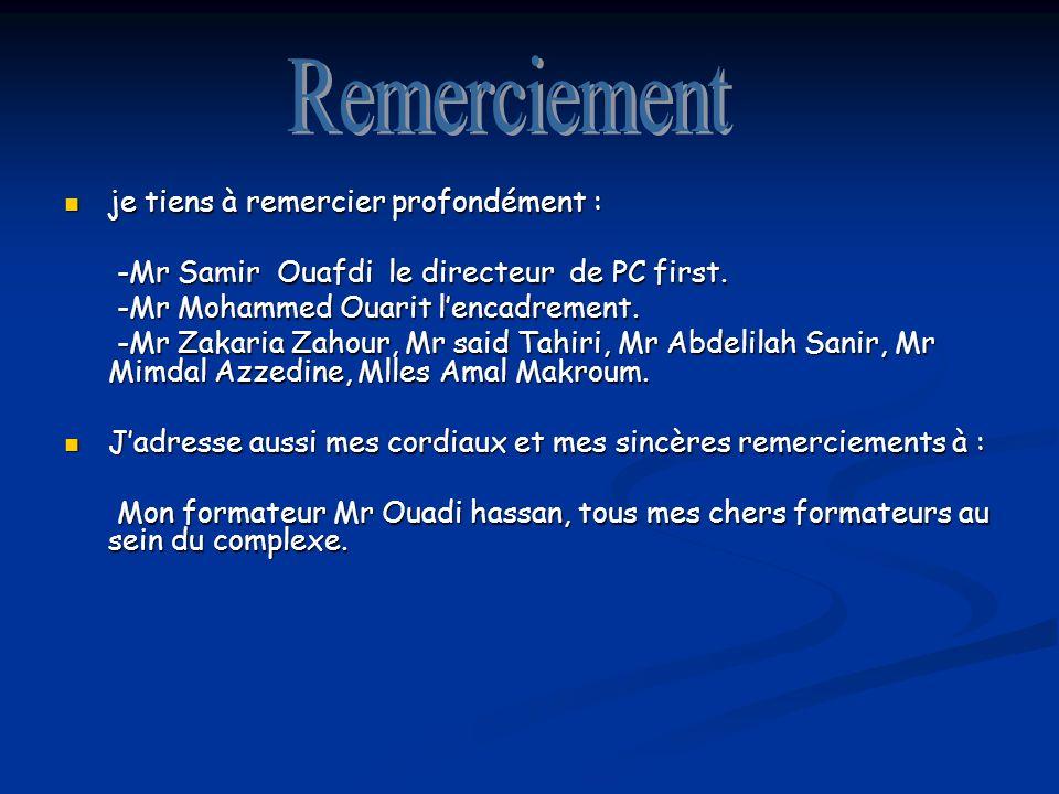 je tiens à remercier profondément : je tiens à remercier profondément : -Mr Samir Ouafdi le directeur de PC first.