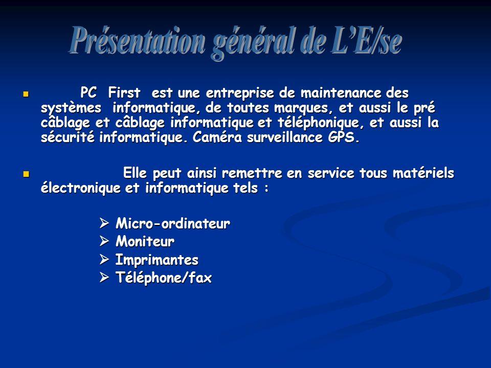 PC First est une entreprise de maintenance des systèmes informatique, de toutes marques, et aussi le pré câblage et câblage informatique et téléphonique, et aussi la sécurité informatique.