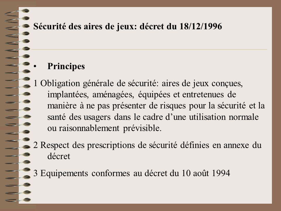Sécurité des aires de jeux: décret du 18/12/1996 Principes 1 Obligation générale de sécurité: aires de jeux conçues, implantées, aménagées, équipées e