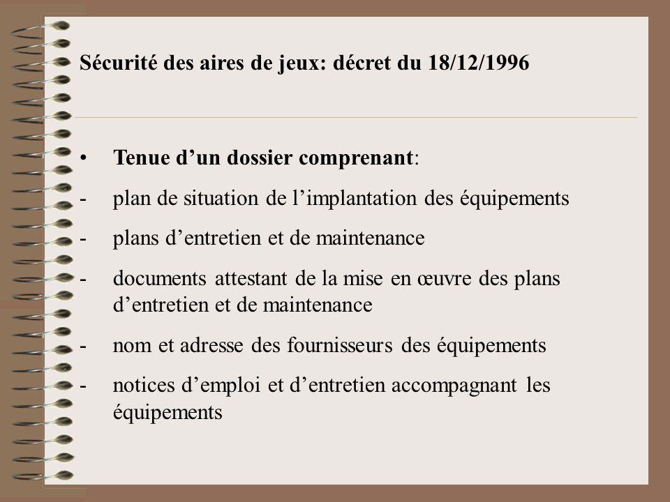 Sécurité des aires de jeux: décret du 18/12/1996 Tenue dun dossier comprenant: -plan de situation de limplantation des équipements -plans dentretien e