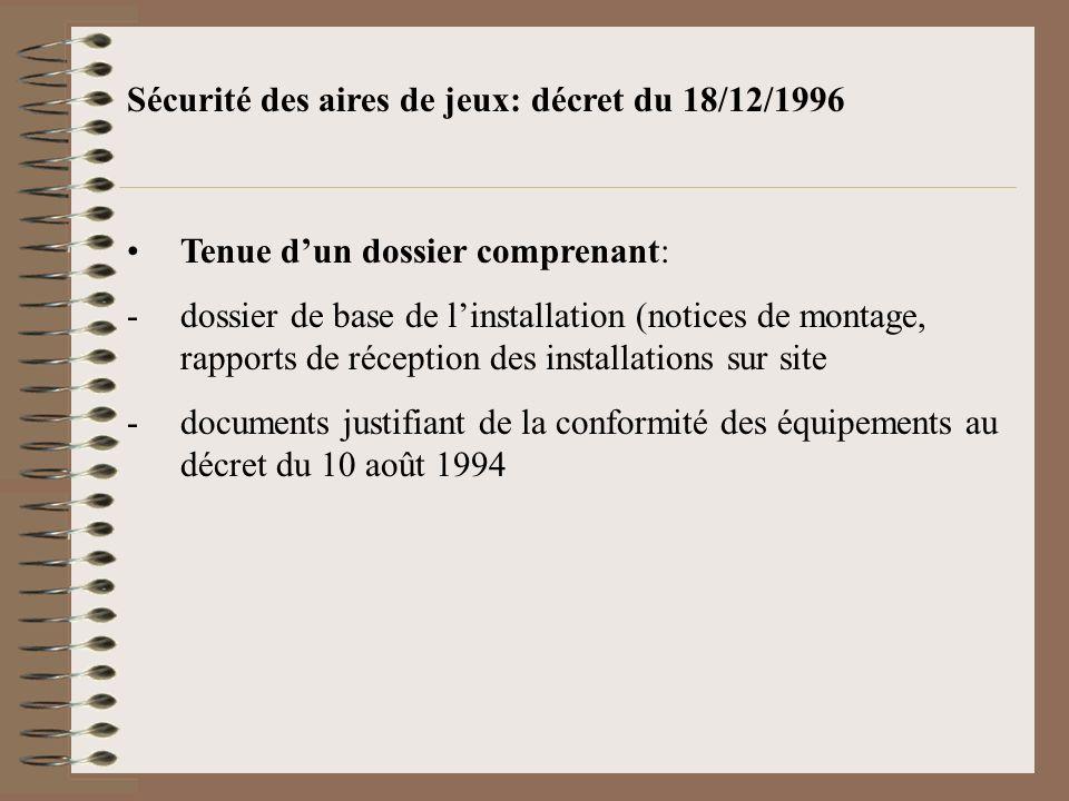 Sécurité des aires de jeux: décret du 18/12/1996 Tenue dun dossier comprenant: -dossier de base de linstallation (notices de montage, rapports de réce