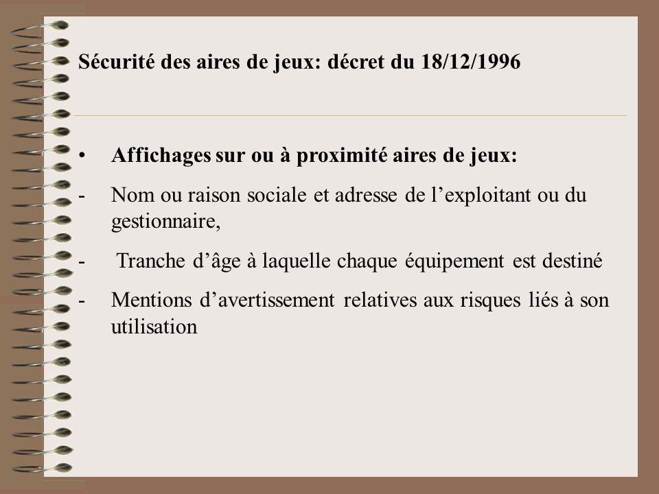 Sécurité des aires de jeux: décret du 18/12/1996 Affichages sur ou à proximité aires de jeux: -Nom ou raison sociale et adresse de lexploitant ou du g