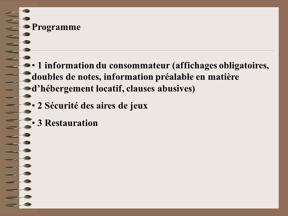Programme 1 information du consommateur (affichages obligatoires, doubles de notes, information préalable en matière dhébergement locatif, clauses abu