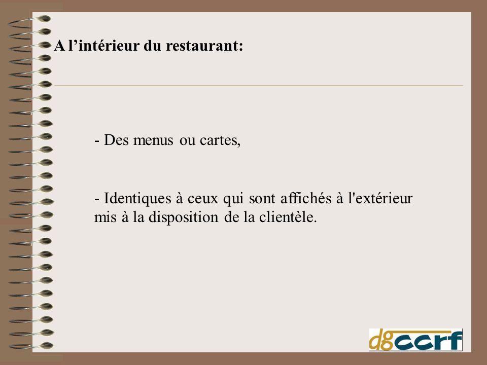 - Des menus ou cartes, - Identiques à ceux qui sont affichés à l'extérieur mis à la disposition de la clientèle. A lintérieur du restaurant: