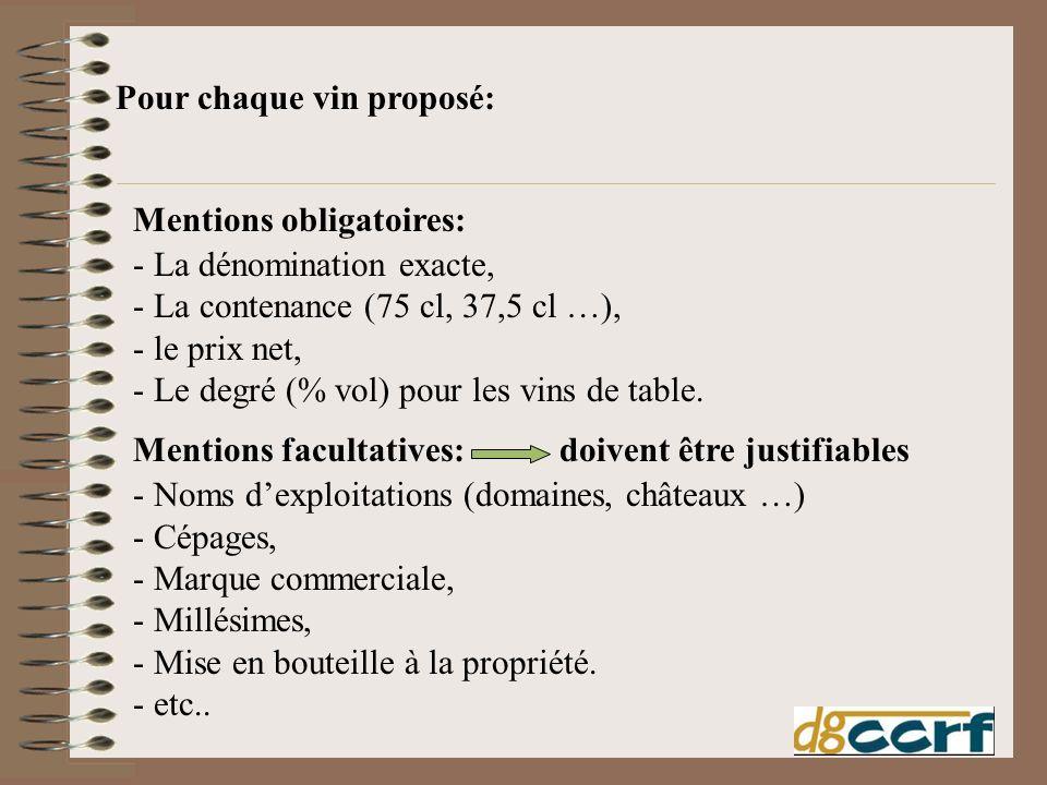 Mentions obligatoires: - La dénomination exacte, - La contenance (75 cl, 37,5 cl …), - le prix net, - Le degré (% vol) pour les vins de table. Mention