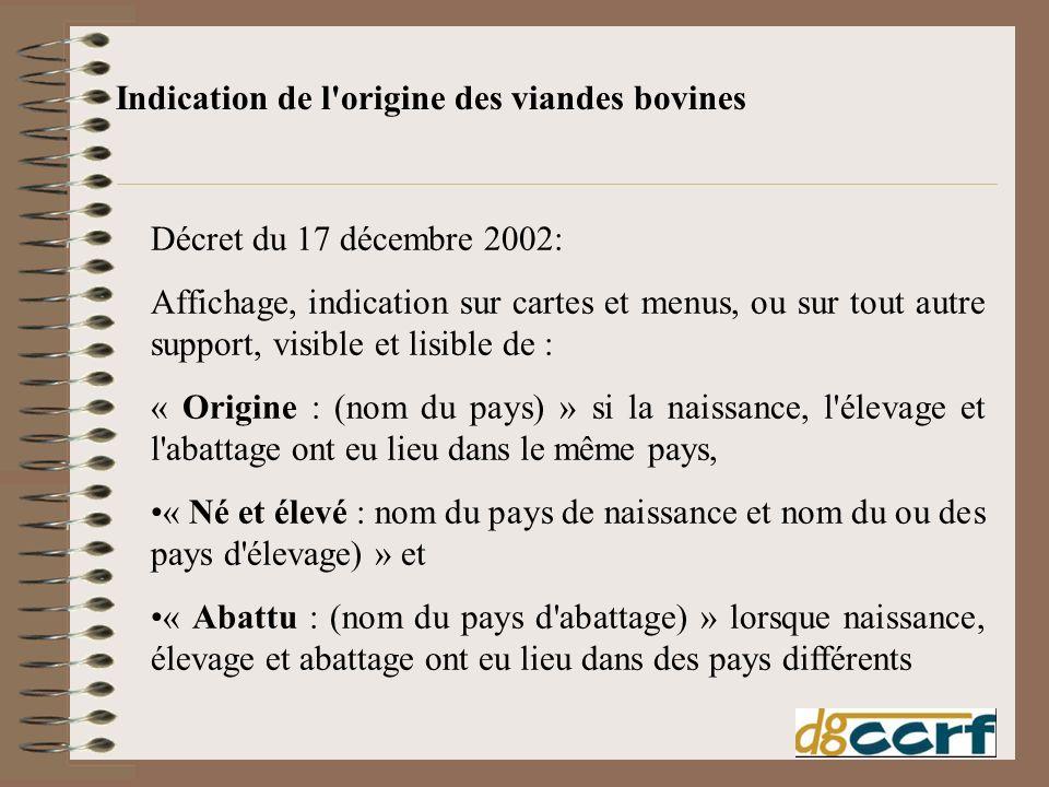 Décret du 17 décembre 2002: Affichage, indication sur cartes et menus, ou sur tout autre support, visible et lisible de : « Origine : (nom du pays) »