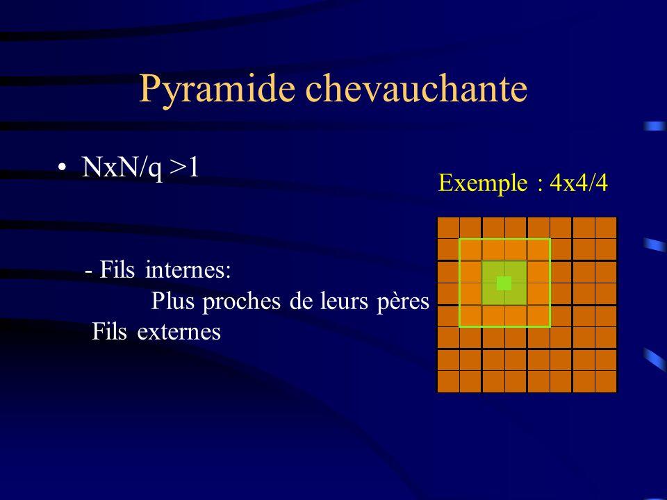 Pyramide chevauchante NxN/q >1 - Fils internes: Plus proches de leurs pères Fils externes Exemple : 4x4/4