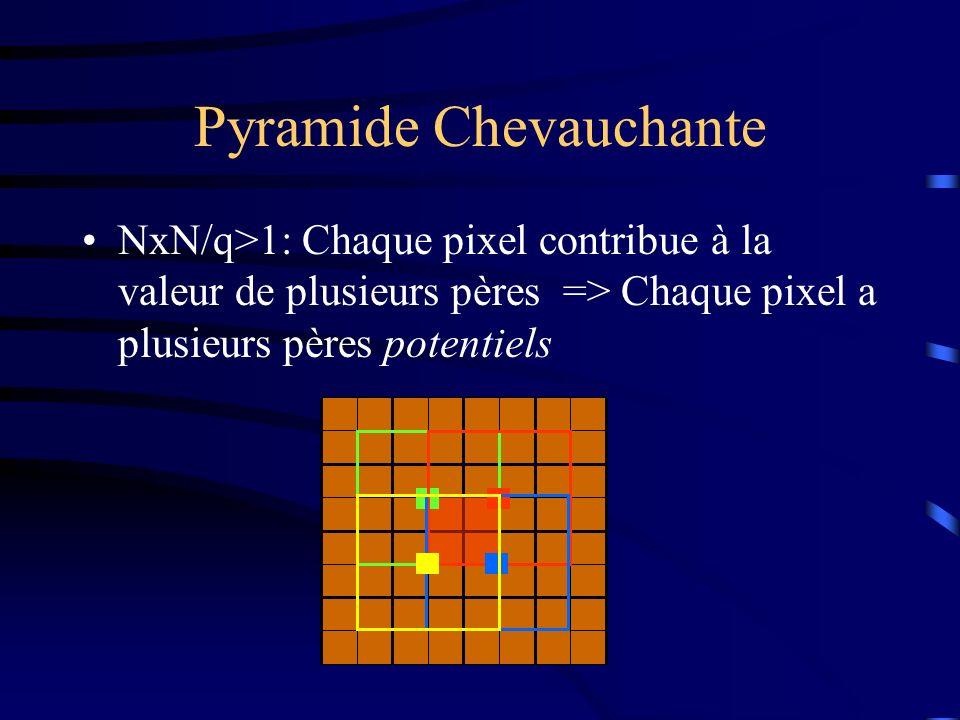 Pyramide Chevauchante NxN/q>1: Chaque pixel contribue à la valeur de plusieurs pères => Chaque pixel a plusieurs pères potentiels