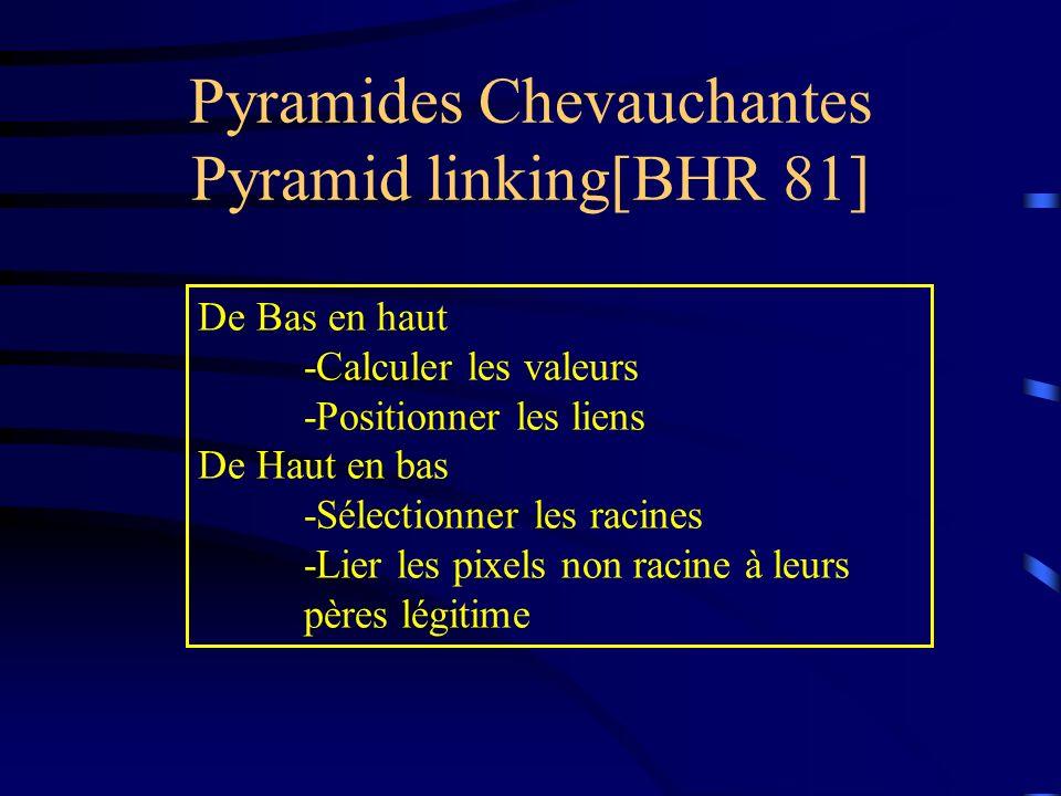 Pyramides Chevauchantes Pyramid linking[BHR 81] De Bas en haut -Calculer les valeurs -Positionner les liens De Haut en bas -Sélectionner les racines -Lier les pixels non racine à leurs pères légitime