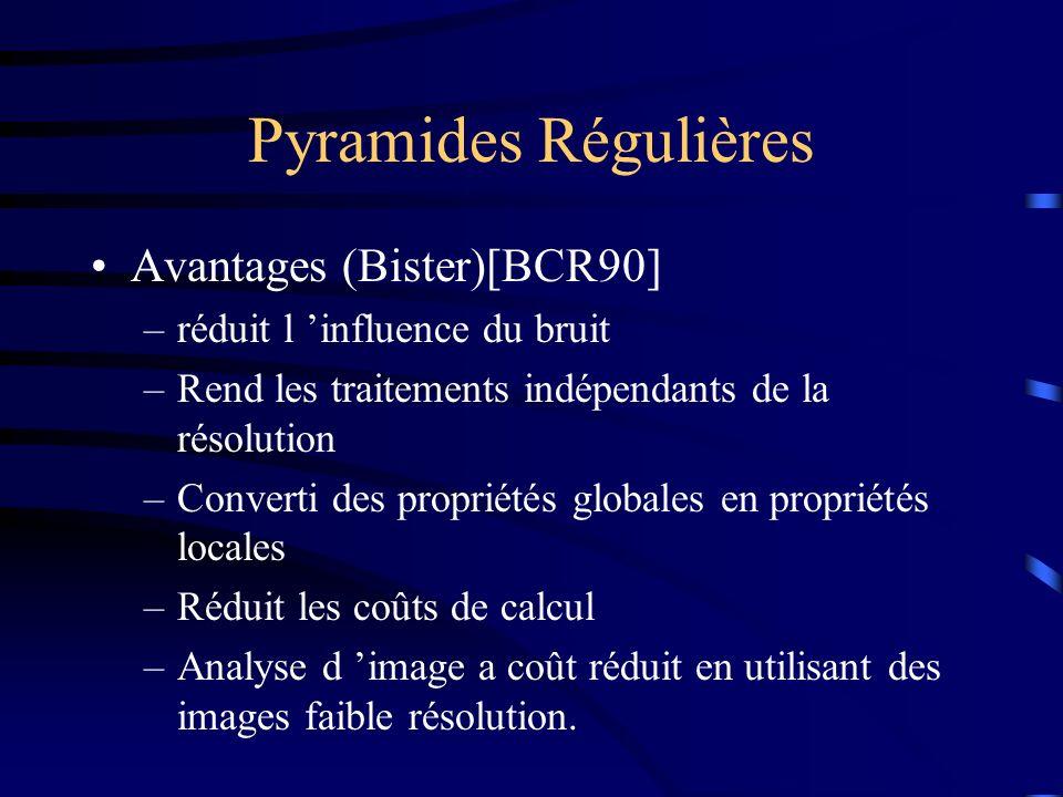 Pyramides Régulières Avantages (Bister)[BCR90] –réduit l influence du bruit –Rend les traitements indépendants de la résolution –Converti des propriétés globales en propriétés locales –Réduit les coûts de calcul –Analyse d image a coût réduit en utilisant des images faible résolution.