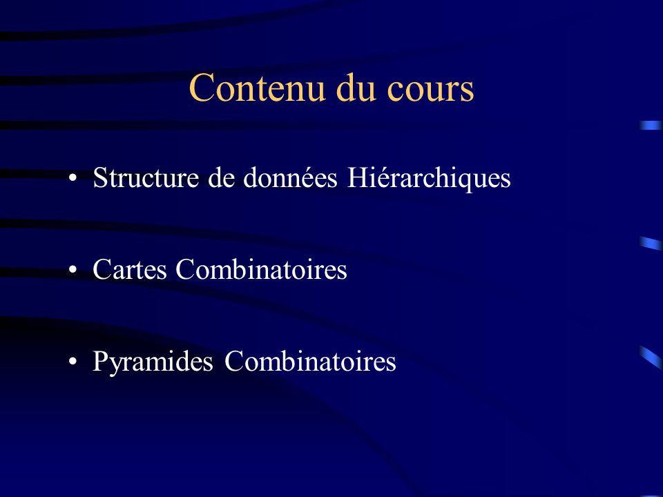 Contenu du cours Structure de données Hiérarchiques Cartes Combinatoires Pyramides Combinatoires