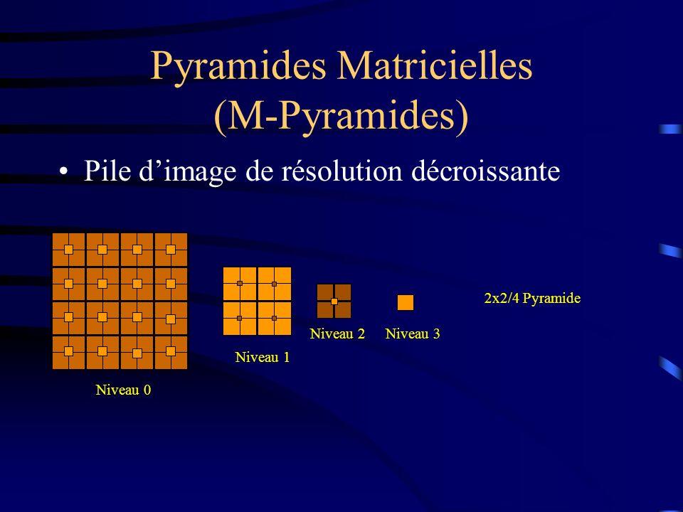 Pyramides Matricielles (M-Pyramides) Pile dimage de résolution décroissante Niveau 0 Niveau 1 Niveau 2 2x2/4 Pyramide Niveau 3