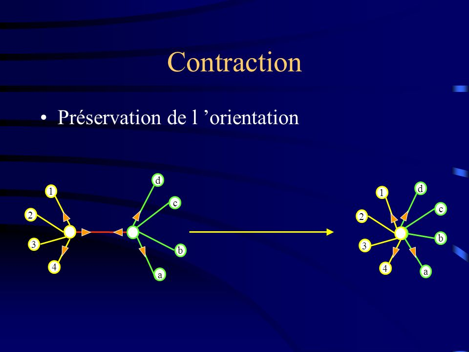 Contraction Préservation de l orientation 1 2 3 4 d c b a 1 2 3 4 d c b a