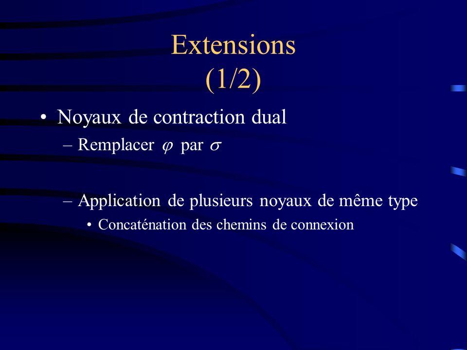 Extensions (1/2) Noyaux de contraction dual –Remplacer par –Application de plusieurs noyaux de même type Concaténation des chemins de connexion