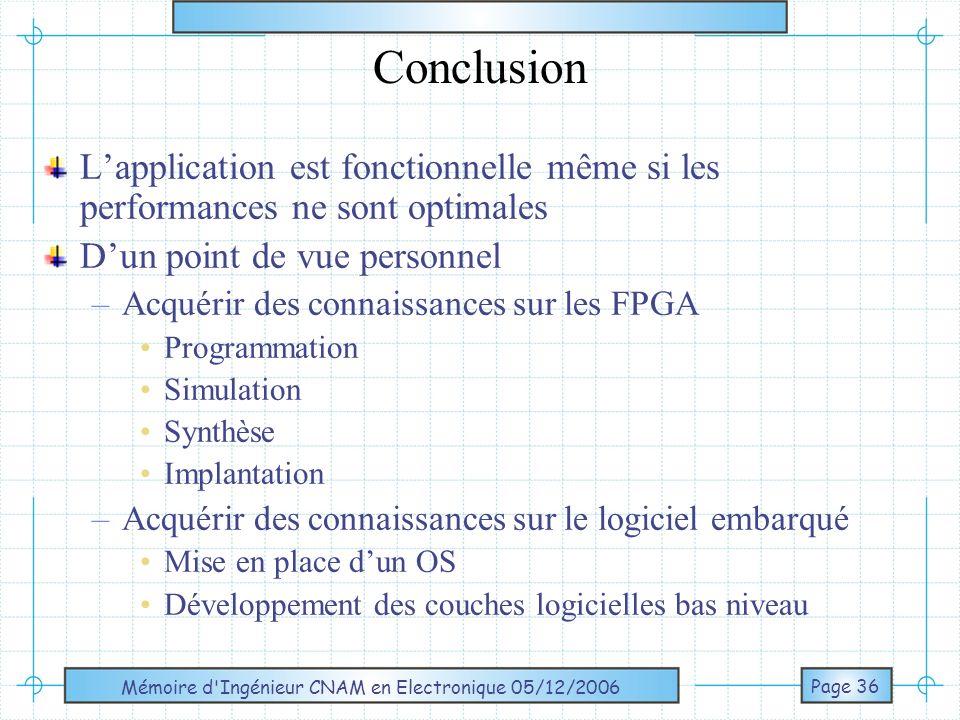 Mémoire d Ingénieur CNAM en Electronique 05/12/2006 Page 37 QUESTIONS ?