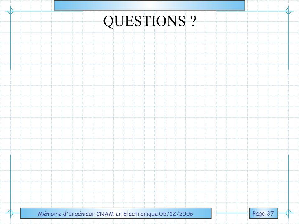 Mémoire d'Ingénieur CNAM en Electronique 05/12/2006 Page 37 QUESTIONS ?