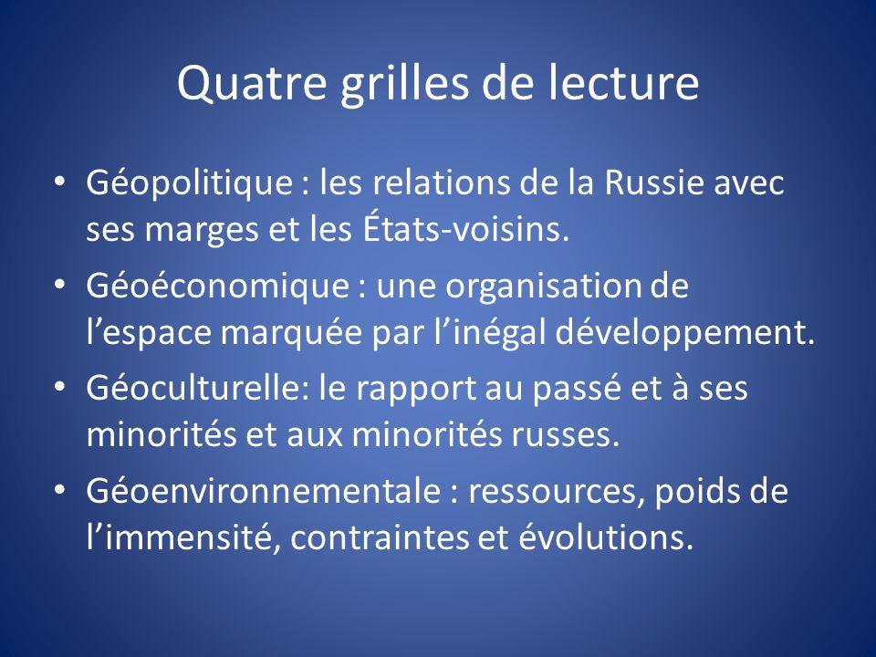 Quatre grilles de lecture Géopolitique : les relations de la Russie avec ses marges et les États-voisins.
