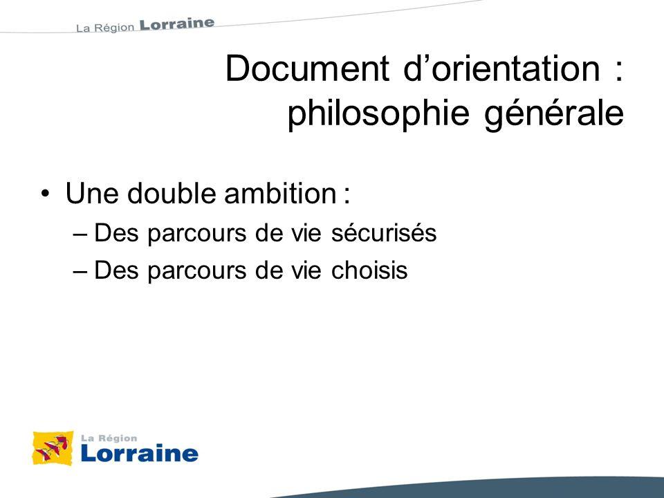 Document dorientation : philosophie générale Une double ambition : –Des parcours de vie sécurisés –Des parcours de vie choisis