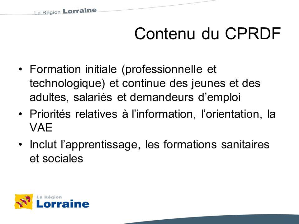 CPRDF : un calendrier contraint CCREFP 8 octobre 2010 : lancement procédure CPRDF Octobre à décembre : documents dorientation Janvier : consultation des territoires 7 février : synthèse D.O.