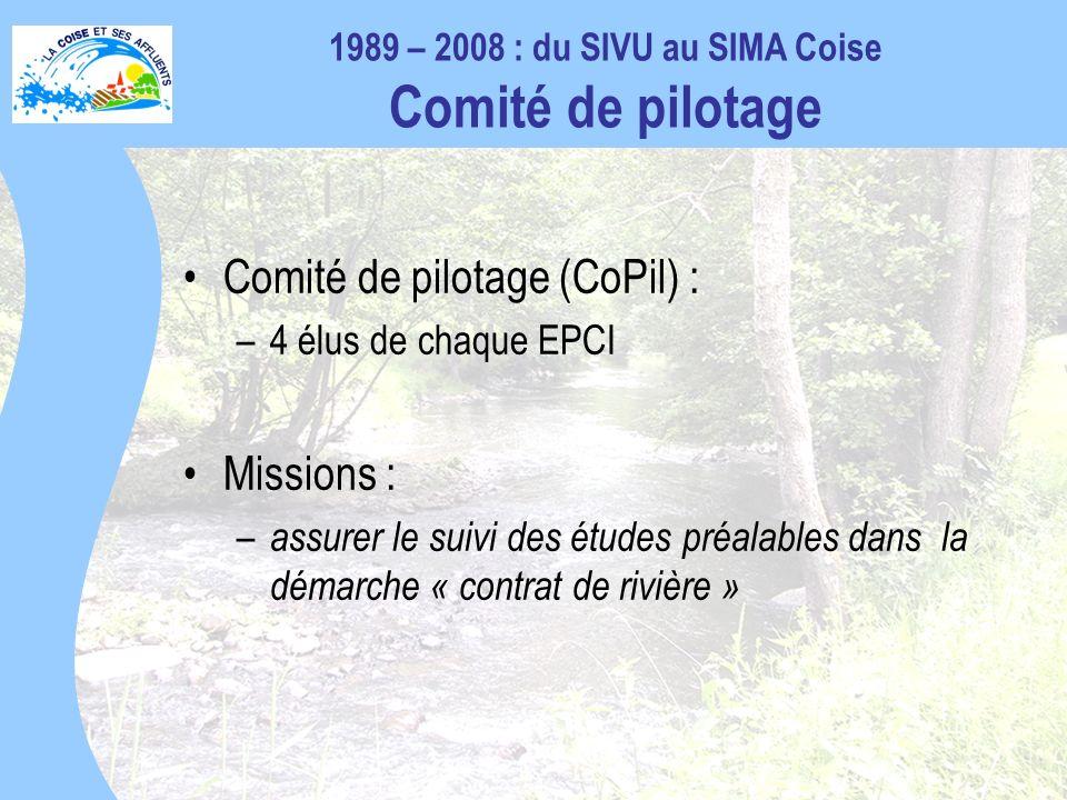 Comité de pilotage (CoPil) : –4 élus de chaque EPCI Missions : – assurer le suivi des études préalables dans la démarche « contrat de rivière » 1989 – 2008 : du SIVU au SIMA Coise Comité de pilotage