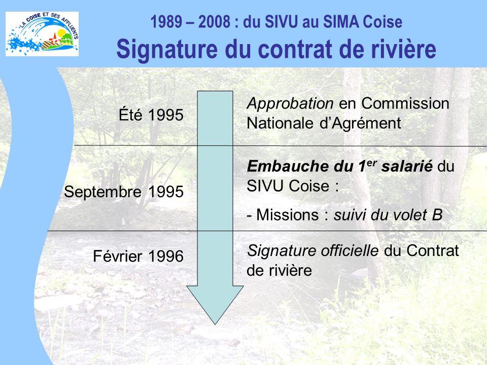 1989 – 2008 : du SIVU au SIMA Coise Signature du contrat de rivière Approbation en Commission Nationale dAgrément Été 1995 Embauche du 1 er salarié du SIVU Coise : - Missions : suivi du volet B Septembre 1995 Signature officielle du Contrat de rivière Février 1996