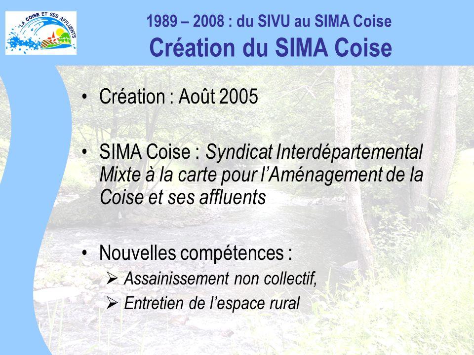 Création : Août 2005 SIMA Coise : Syndicat Interdépartemental Mixte à la carte pour lAménagement de la Coise et ses affluents Nouvelles compétences : Assainissement non collectif, Entretien de lespace rural 1989 – 2008 : du SIVU au SIMA Coise Création du SIMA Coise