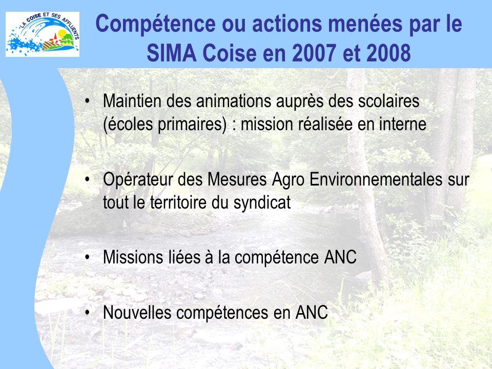 Compétence ou actions menées par le SIMA Coise en 2007 et 2008 Maintien des animations auprès des scolaires (écoles primaires) : mission réalisée en interne Opérateur des Mesures Agro Environnementales sur tout le territoire du syndicat Missions liées à la compétence ANC Nouvelles compétences en ANC