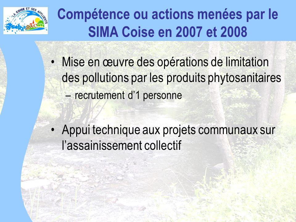 Compétence ou actions menées par le SIMA Coise en 2007 et 2008 Mise en œuvre des opérations de limitation des pollutions par les produits phytosanitaires –recrutement d1 personne Appui technique aux projets communaux sur lassainissement collectif