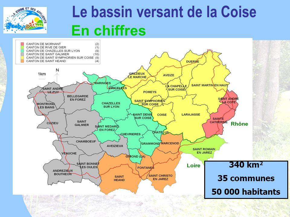 340 km 2 35 communes 50 000 habitants Le bassin versant de la Coise En chiffres