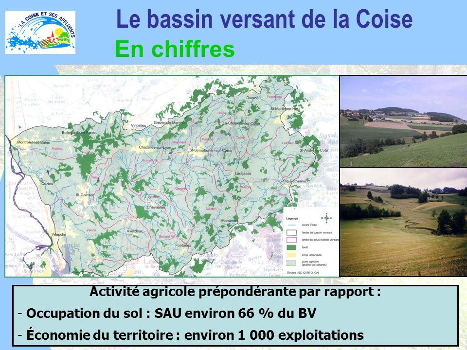 Activité agricole prépondérante par rapport : - Occupation du sol : SAU environ 66 % du BV - Économie du territoire : environ 1 000 exploitations Le bassin versant de la Coise En chiffres