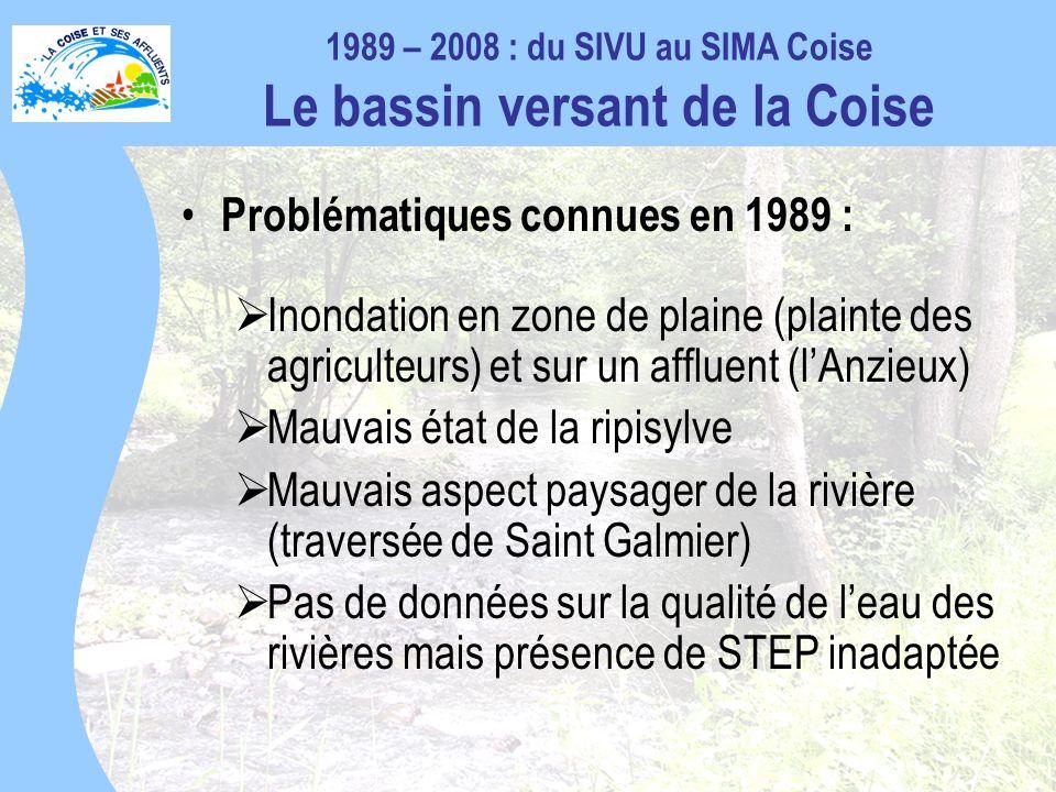 Problématiques connues en 1989 : Inondation en zone de plaine (plainte des agriculteurs) et sur un affluent (lAnzieux) Mauvais état de la ripisylve Mauvais aspect paysager de la rivière (traversée de Saint Galmier) Pas de données sur la qualité de leau des rivières mais présence de STEP inadaptée 1989 – 2008 : du SIVU au SIMA Coise Le bassin versant de la Coise