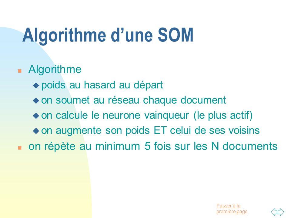 Passer à la première page Algorithme dune SOM n Algorithme u poids au hasard au départ u on soumet au réseau chaque document u on calcule le neurone v