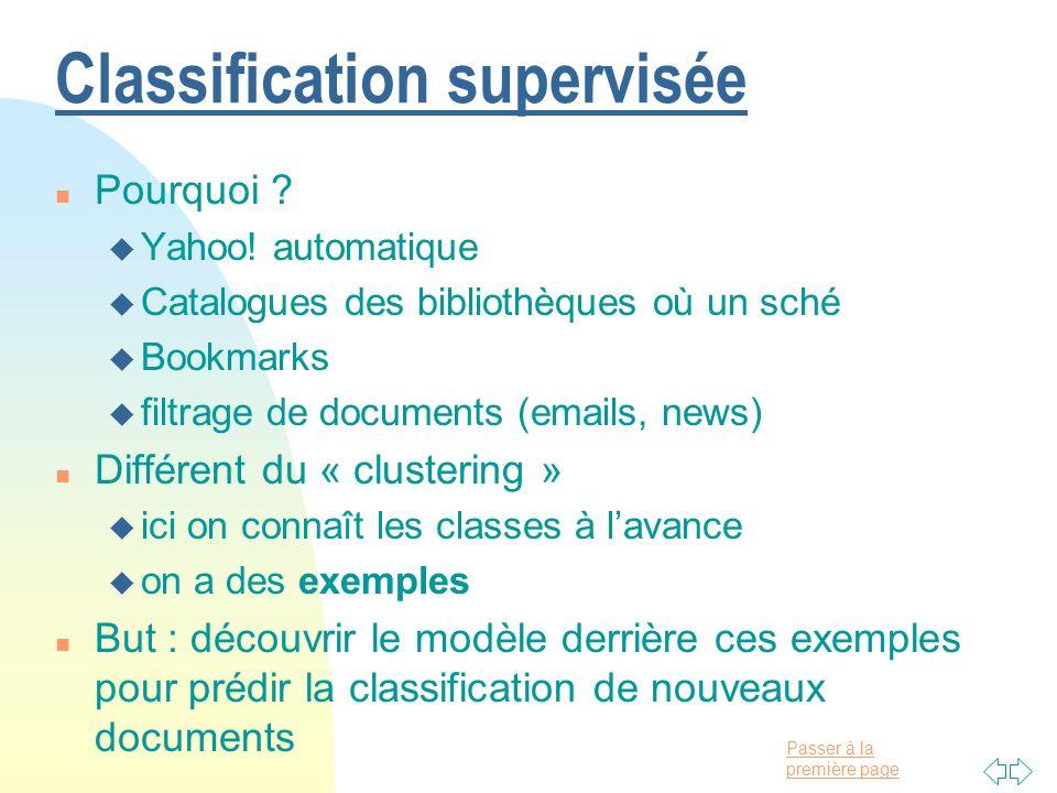 Passer à la première page Classification supervisée n Pourquoi ? u Yahoo! automatique u Catalogues des bibliothèques où un sché u Bookmarks u filtrage