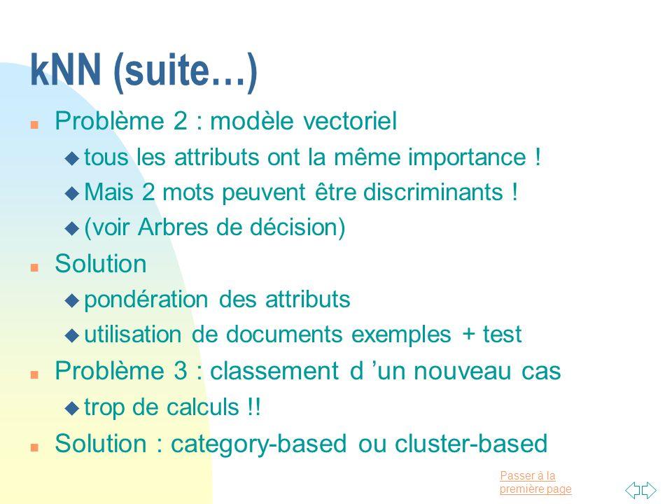 Passer à la première page kNN (suite…) n Problème 2 : modèle vectoriel u tous les attributs ont la même importance ! u Mais 2 mots peuvent être discri