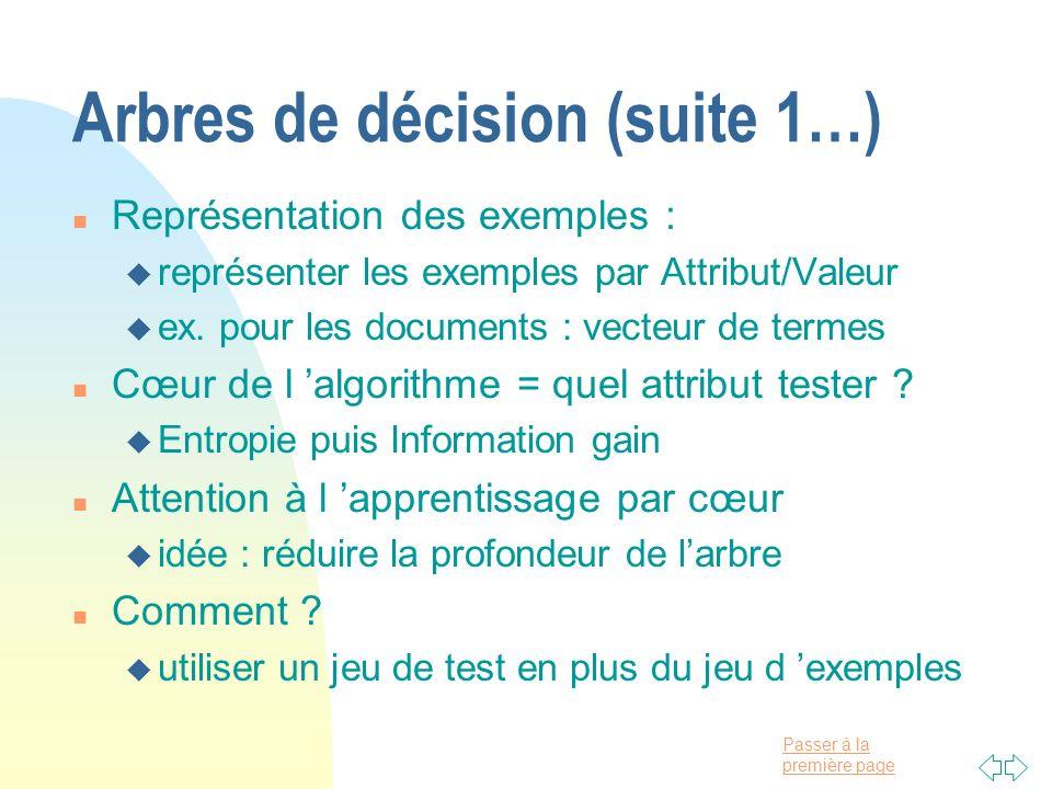 Passer à la première page Arbres de décision (suite 1…) n Représentation des exemples : u représenter les exemples par Attribut/Valeur u ex. pour les