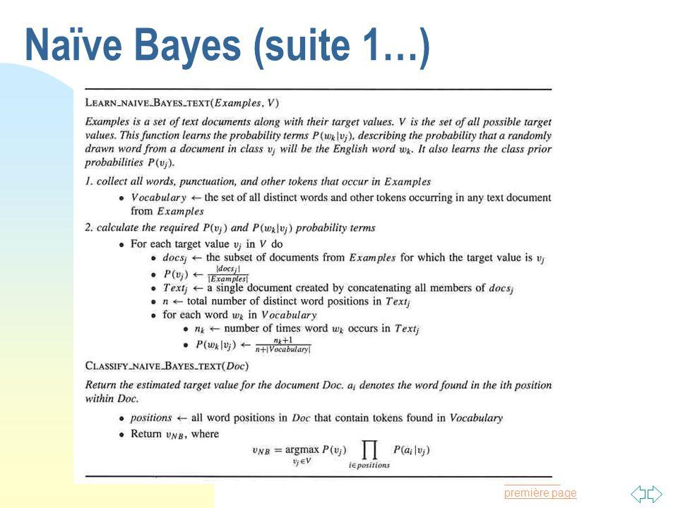 Passer à la première page Naïve Bayes (suite 1…)