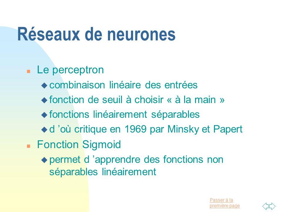 Passer à la première page Réseaux de neurones n Le perceptron u combinaison linéaire des entrées u fonction de seuil à choisir « à la main » u fonctio