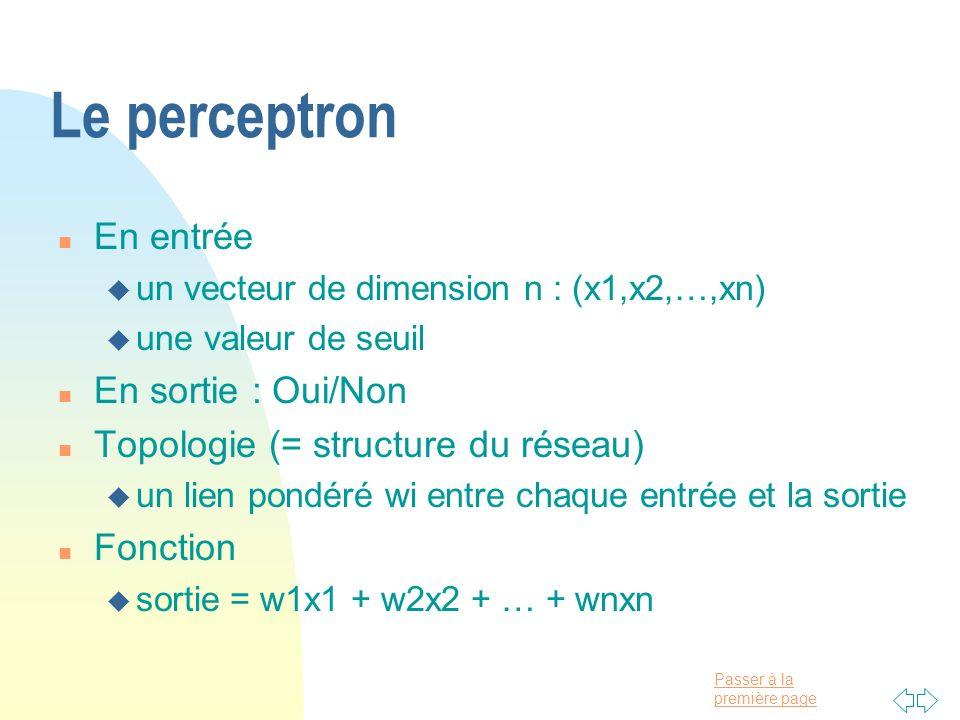 Passer à la première page Le perceptron n En entrée u un vecteur de dimension n : (x1,x2,…,xn) u une valeur de seuil n En sortie : Oui/Non n Topologie