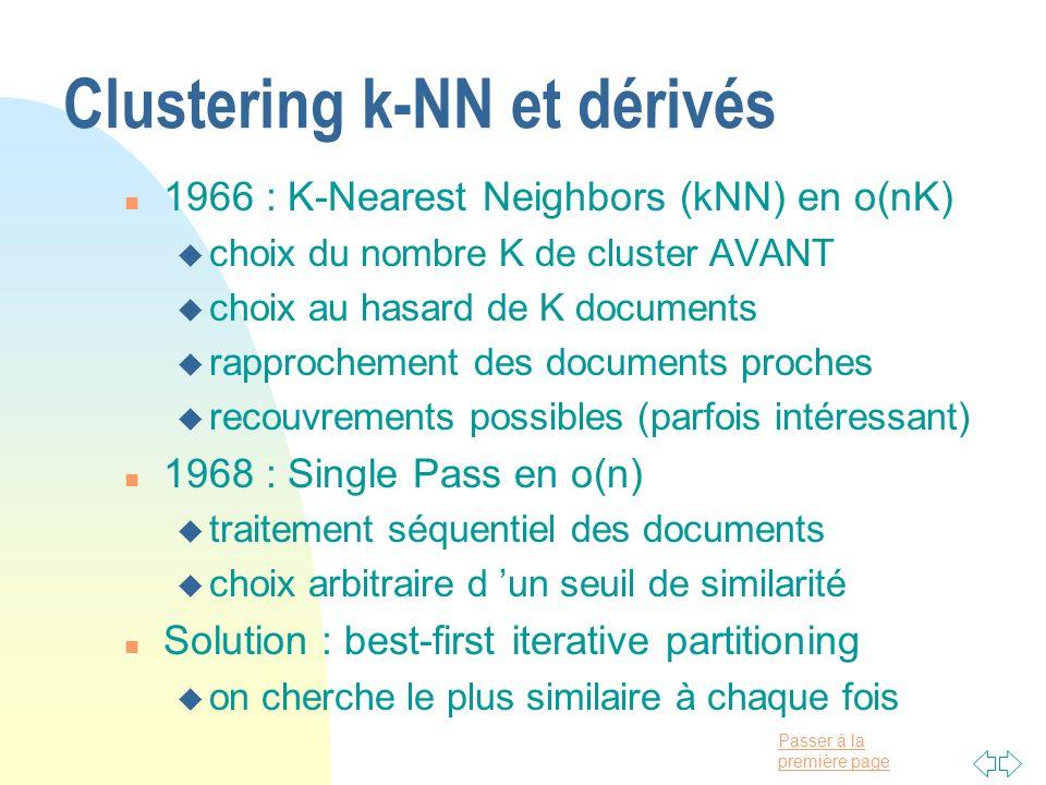 Passer à la première page Clustering k-NN et dérivés n 1966 : K-Nearest Neighbors (kNN) en o(nK) u choix du nombre K de cluster AVANT u choix au hasar