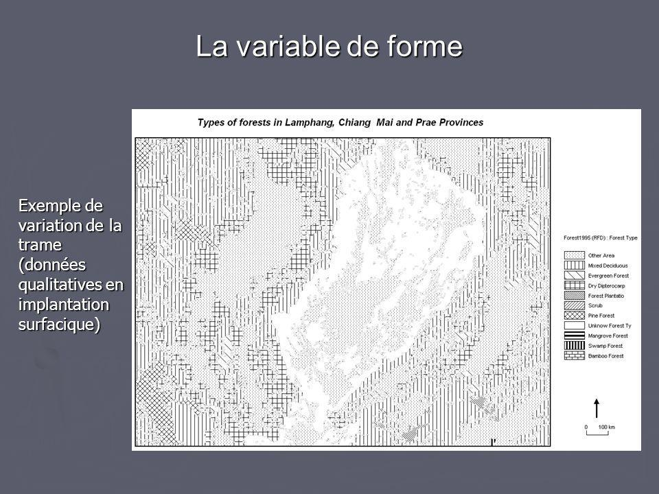 Exemple de variation de la trame (données qualitatives en implantation surfacique) La variable de forme