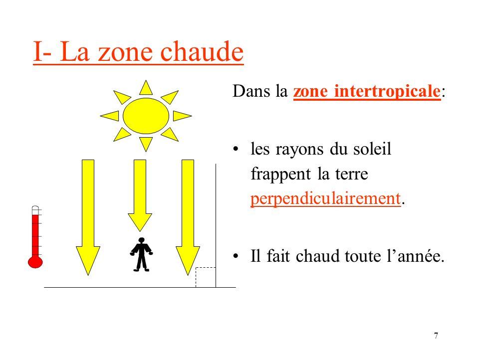 7 I- La zone chaude Dans la zone intertropicale: les rayons du soleil frappent la terre perpendiculairement.
