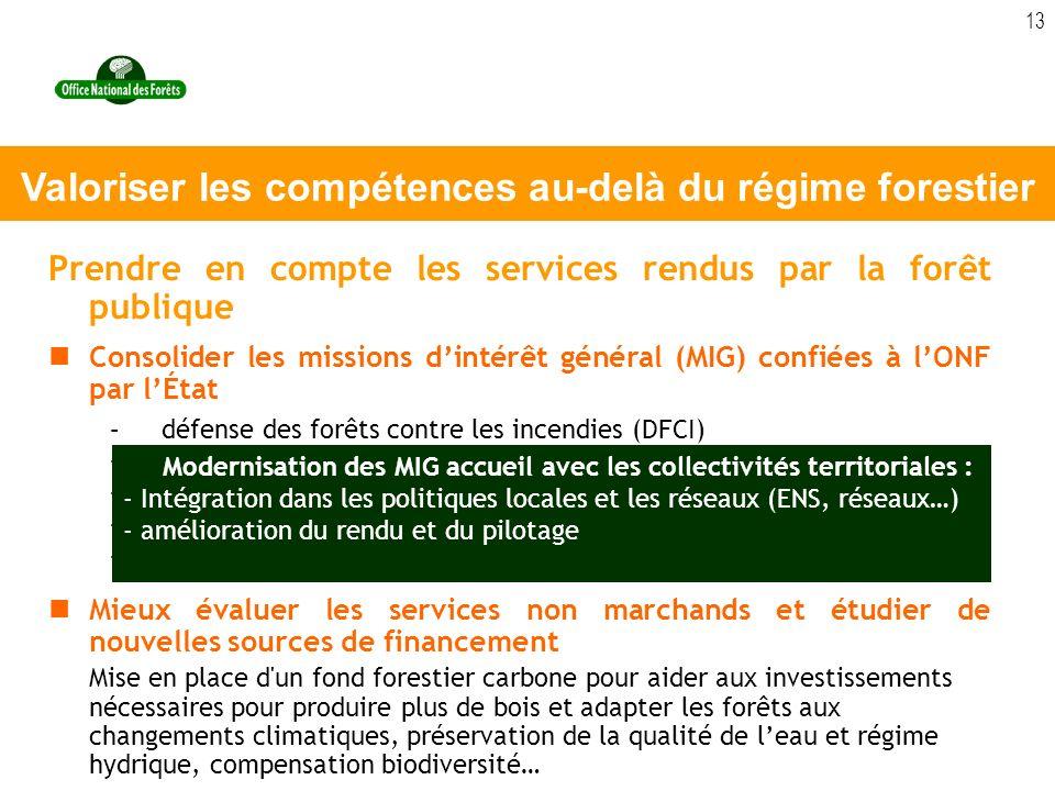 13 Prendre en compte les services rendus par la forêt publique Consolider les missions dintérêt général (MIG) confiées à lONF par lÉtat –défense des f
