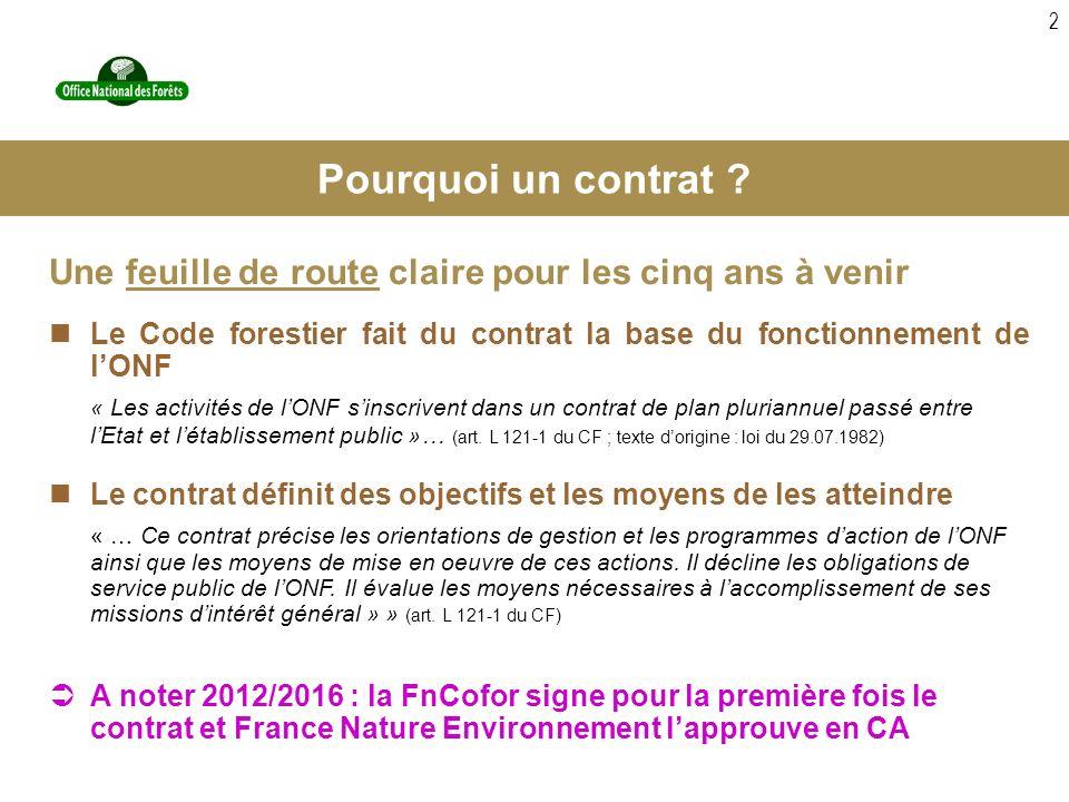 2 Une feuille de route claire pour les cinq ans à venir Le Code forestier fait du contrat la base du fonctionnement de lONF « Les activités de lONF sinscrivent dans un contrat de plan pluriannuel passé entre lEtat et létablissement public »… (art.