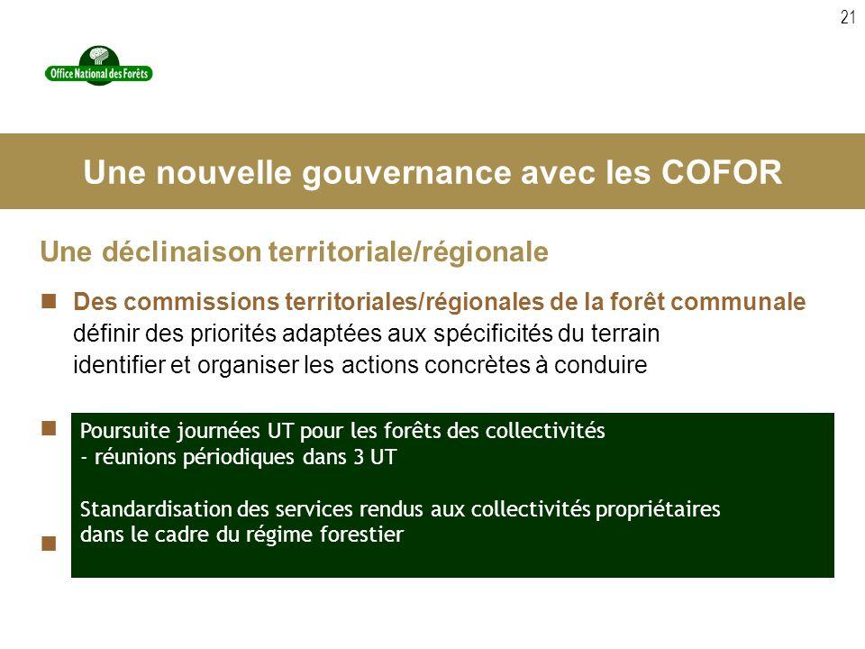 21 Une déclinaison territoriale/régionale Des commissions territoriales/régionales de la forêt communale définir des priorités adaptées aux spécificit