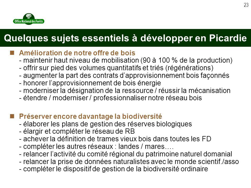 23 Amélioration de notre offre de bois - maintenir haut niveau de mobilisation (90 à 100 % de la production) - offrir sur pied des volumes quantitatifs et triés (régénérations) - augmenter la part des contrats dapprovisionnement bois façonnés - honorer lapprovisionnement de bois énergie - moderniser la désignation de la ressource / réussir la mécanisation - étendre / moderniser / professionnaliser notre réseau bois Préserver encore davantage la biodiversité - élaborer les plans de gestion des réserves biologiques - élargir et compléter le réseau de RB - achever la définition de trames vieux bois dans toutes les FD - compléter les autres réseaux : landes / mares….