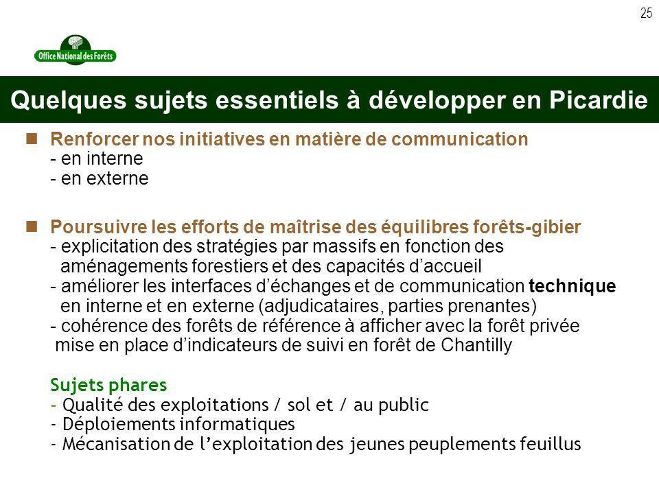 25 Renforcer nos initiatives en matière de communication - en interne - en externe Poursuivre les efforts de maîtrise des équilibres forêts-gibier - e
