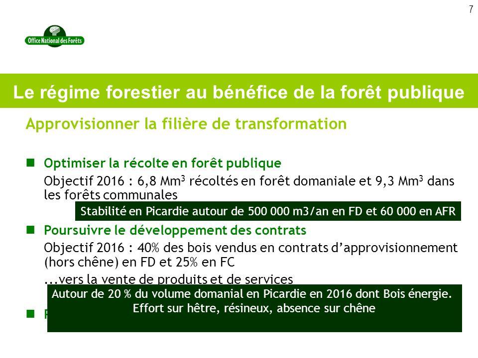 7 Approvisionner la filière de transformation Optimiser la récolte en forêt publique Objectif 2016 : 6,8 Mm 3 récoltés en forêt domaniale et 9,3 Mm 3 dans les forêts communales Poursuivre le développement des contrats Objectif 2016 : 40% des bois vendus en contrats dapprovisionnement (hors chêne) en FD et 25% en FC...vers la vente de produits et de services Poursuivre le développement du bois énergie Le régime forestier au bénéfice de la forêt publique Stabilité en Picardie autour de 500 000 m3/an en FD et 60 000 en AFR Autour de 20 % du volume domanial en Picardie en 2016 dont Bois énergie.