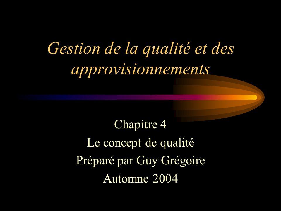 Gestion de la qualité et des approvisionnements Chapitre 4 Le concept de qualité Préparé par Guy Grégoire Automne 2004