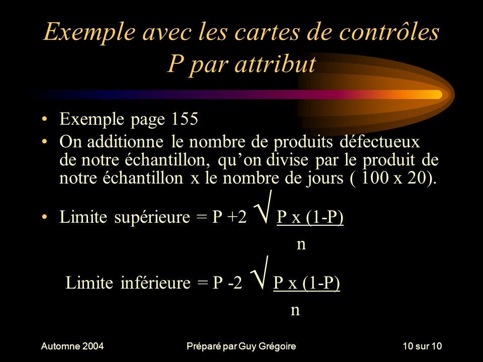 Automne 2004Préparé par Guy Grégoire10 sur 10 Exemple avec les cartes de contrôles P par attribut Exemple page 155 On additionne le nombre de produits défectueux de notre échantillon, quon divise par le produit de notre échantillon x le nombre de jours ( 100 x 20).