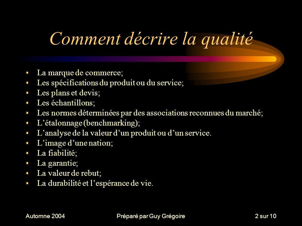 Automne 2004Préparé par Guy Grégoire3 sur 10 Historique de la qualité Le contrôle de la qualité; Lassurance qualité; La qualité totale